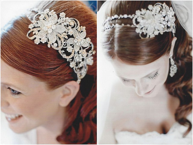 Jessica, gorgeous in her custom crystal headband, chandelier earrings and bracelet from Bridal Styles Boutique!