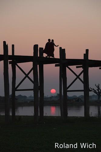bridge sunset silhouette burma silhouettes bein u myanmar birma mandalay amarapura birmanie birmania ubei