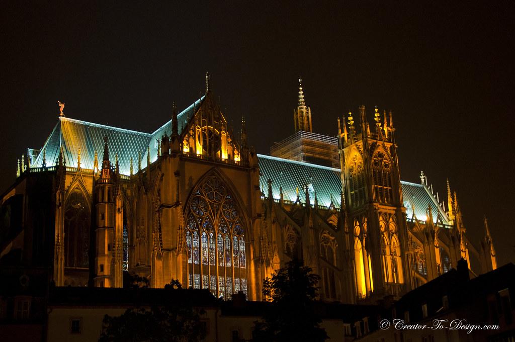Metz night, Metz de nuit, Cathédrale Saint-Étienne de Metz
