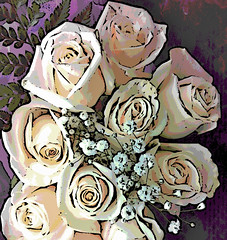 Pale Pink Roses (Digital Woodcut) by randubnick