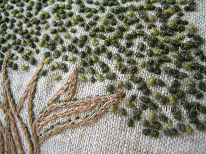 hand embroidery tutorial french knot stitch tree crown