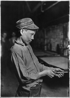 Carrying-in-boy- at the Lehr (15 years old). Has worked for several years. Works nine hours. Day shift one week, night shift next week. Gets $1.25 per day, October 1908