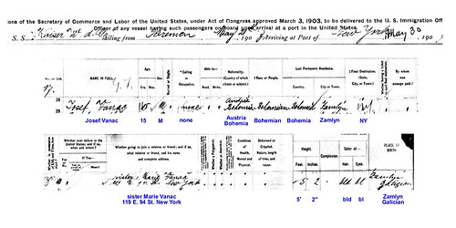 Joseph Vanac ship immigration record, 1907