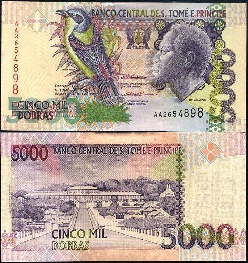5000 Dobras Svätý Tomáš a Princov ostrov 1996, Pick 65