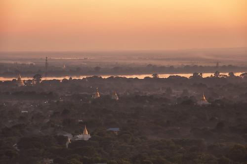 sunset orange ava river golden pagoda dusk burma hill british myanmar mandalay irrawaddy sagaing stupas inwwabridge