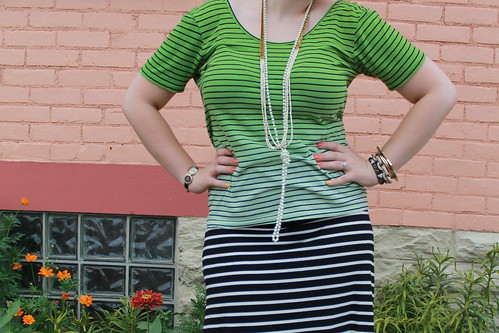 IMG_Black and white striped jersey maxi skirt, striped ombré t-shirt with crisscross back, coral and pearl sandals, knotted pearls, ribbon and bead necklace, pavé cable link bracelet from J.Crew, bangles, etc.5436