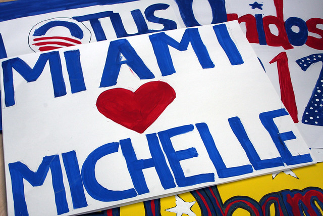 Grassroots signs in Miami for Michelle Obama
