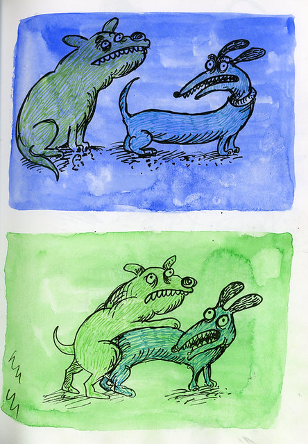 Green and Blue Dogs