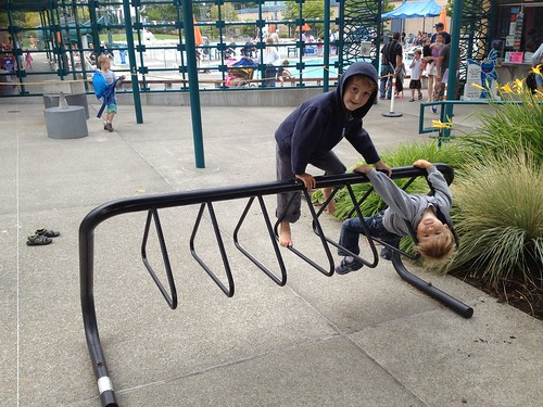 Swimming pool bike rack gymnastics
