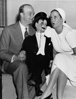 Ventriloquist Actor Edgar Bergan and Charlie Chaplain with Dorothy Lamore in old Hollywood