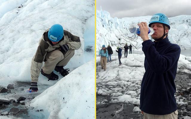 Drinking glacier water, Matansuka Glacier