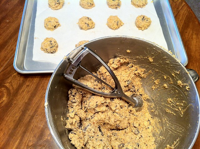 Scooped Cookies on Lined Baking Sheet