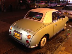 automobile, vehicle, nissan figaro, subcompact car, city car, mitsuoka viewt, compact car, antique car, sedan, land vehicle,