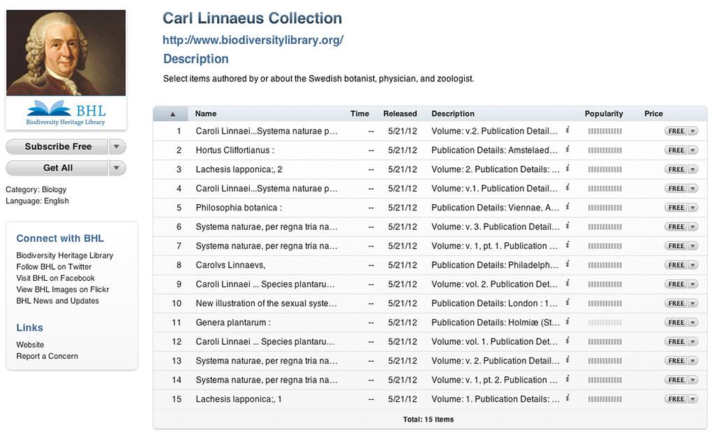 Linnaeus Collection on BHL iTunes U