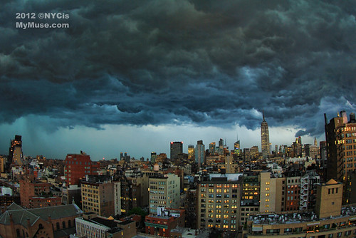 Fisheye view: Angry sky as the big derecho storm rolls through NYC