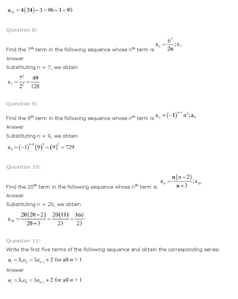 ncert solutions for class 11 maths chapter 9 sequences and series