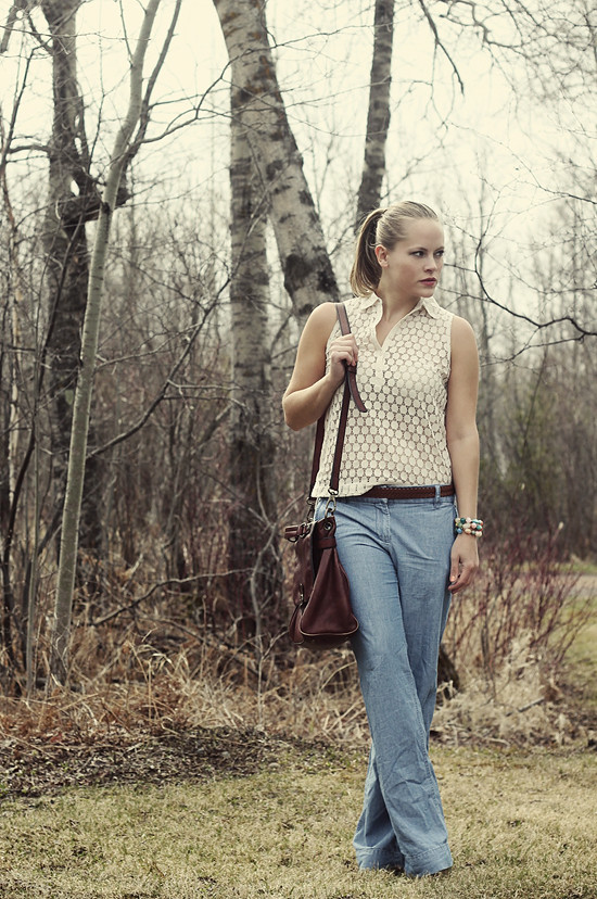 Top: Madewell; Trousers: J. Crew; Bag: Fossil; Belt: Thrifted; Bracelet: Target