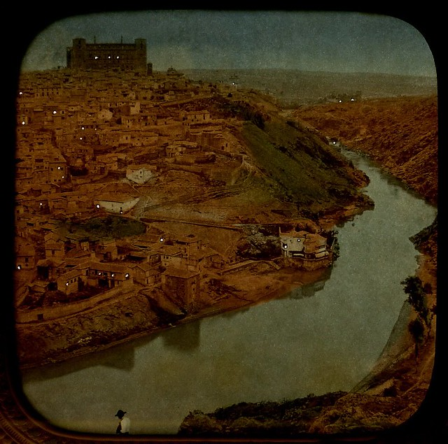 Vista de Toledo hacia 1870. Detalle de una imagen estereoscópica tipo tisú (con luz posterior) de Ernest Lamy