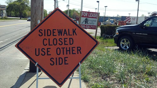 RT 140 - sidewalk closed