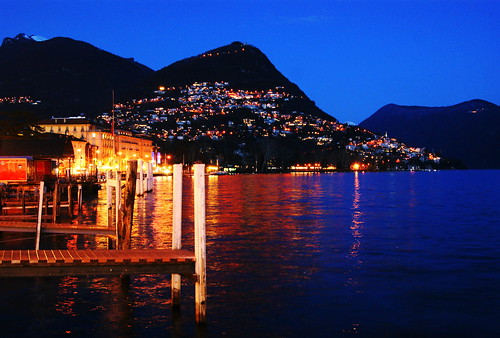 Lake Lugano at night