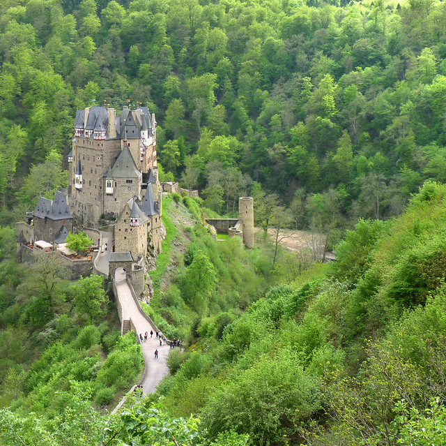 Burg Eltz nestled in the green hills above the Moselle River