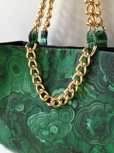 Malachite + Gold Shoulder Bag 40