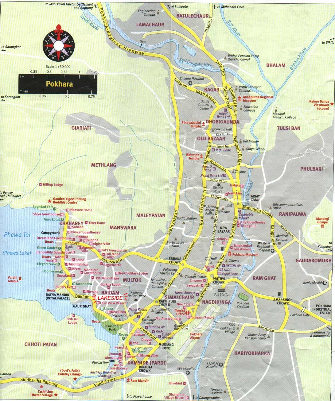 Mapa Pokhara, Nepal