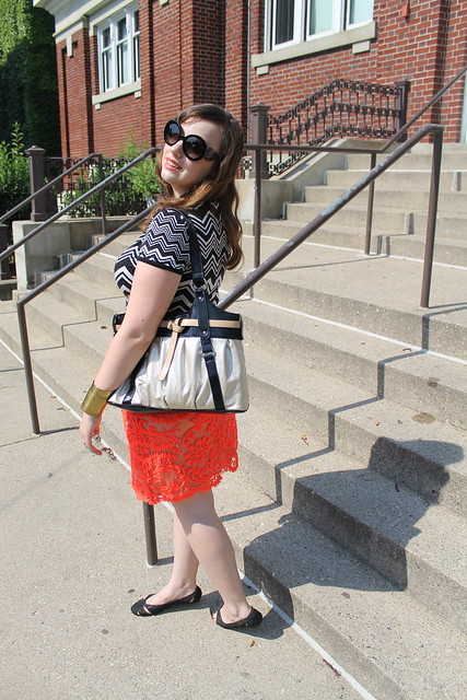 Missoni for Target chevron tee, neon embroidered skirt, black lace ballet flats, gold purse, Prada baroque sunglasses