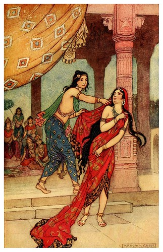 004-La prueba de la reina Draupadi-Indian myth and legend 1913-Warwick Goble