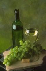 glass bottle, painting, drinkware, distilled beverage, liqueur, bottle, glass, grape, fruit, white wine, food, still life photography, drink, wine bottle, still life, alcoholic beverage,