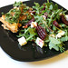 Rocket, beet and brie salad with a spinach phyllo tart