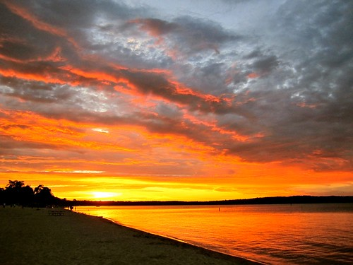sunset michigan traversecity