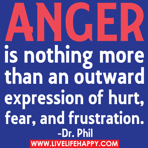 Anger is nothing more than an outward expression of hurt, fear, and frustration.
