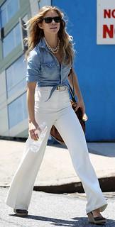 Annalynne McCord Denim Shirt Celebrity Style Woman's Fashion