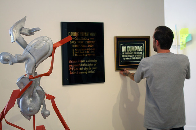 """""""It's a Long Way to the Top"""" installation of Sean Barton and Michael Walsh works"""