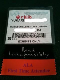 ALA badge --> write your twitter handle on it