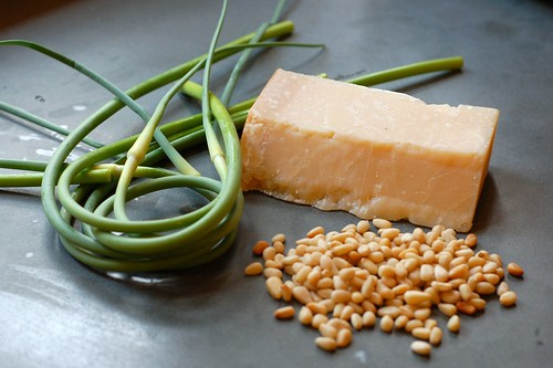 Garlic scapes, pine nuts and parmesan by Eve Fox, Garden of Eating blog, copyright 2012