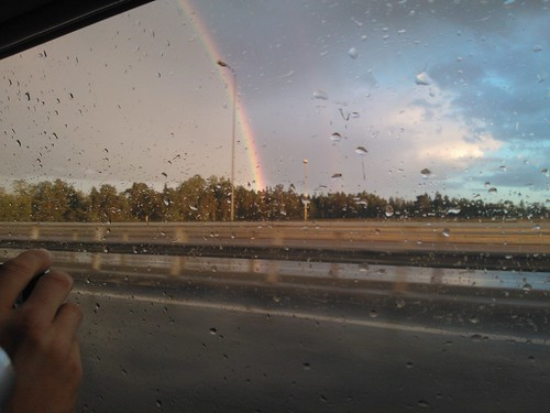 Storm with rainbow