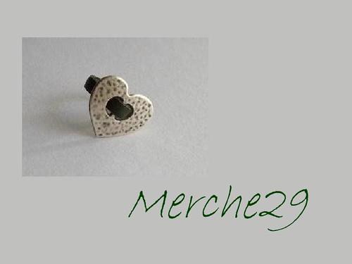 anillo cuero plano y fornitura corazon by llaverito1979