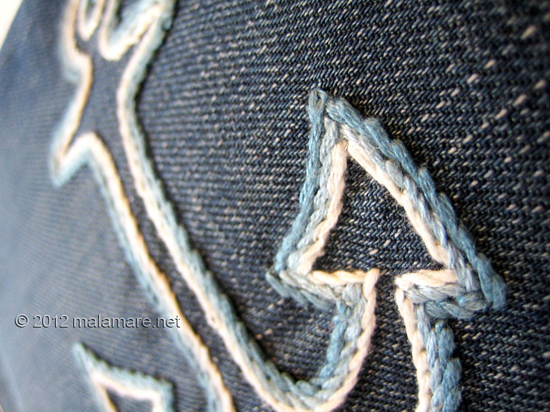 upcycled blue jeans clutch bag with hand embroidered anchor thread