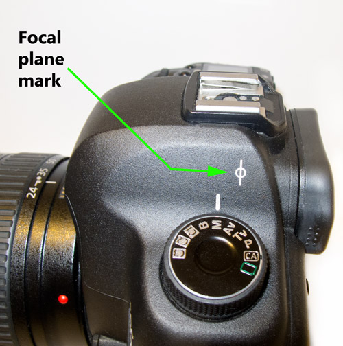 The focal plane mark found on most DSLR cameras