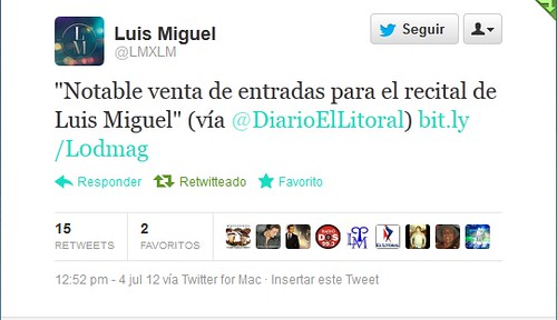 Luis Miguel a través del twitter, con El Litoral