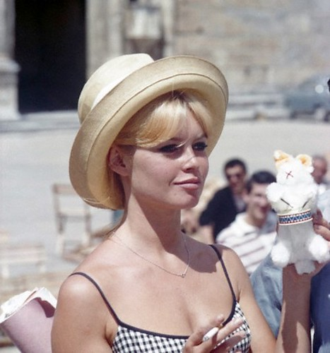 "1962 --- Brigitte Bardot on the set of ""Vie Privee"". --- Image by © Sunset Boulevard/Corbis"