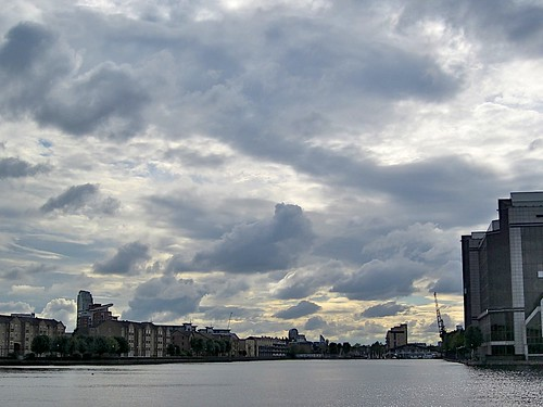 Stormy sky over Millwall Dock