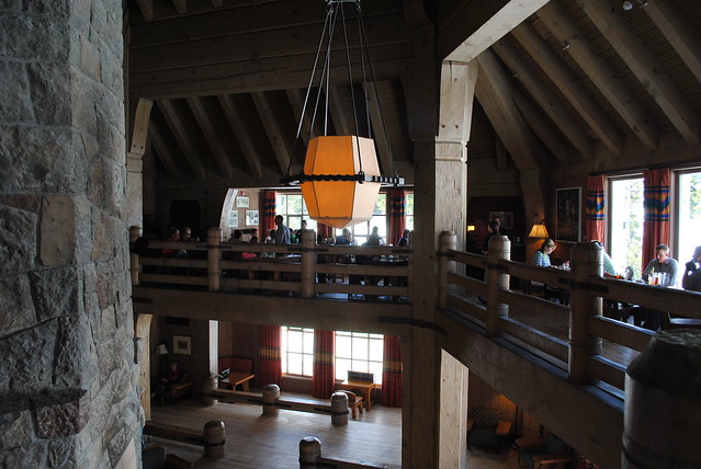 Grab a drink on the third floor of the Timberline Lodge