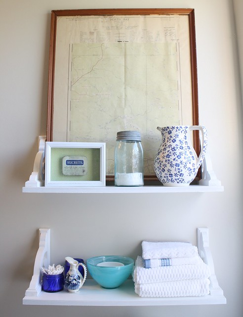 vintage inspired bathroom shelves with mason jars