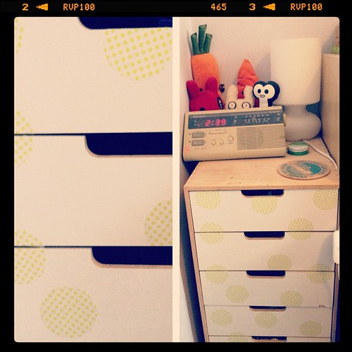 I polka dotted my ikea drawers with mt dots :)
