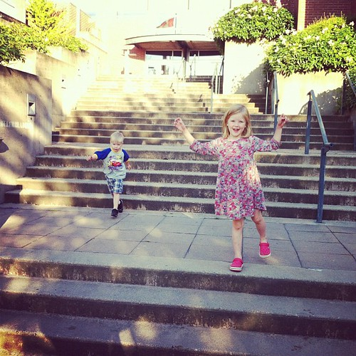 Playing on the courthouse steps