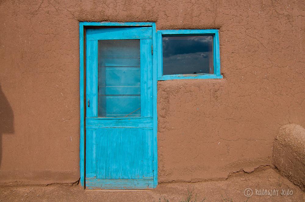 Adobe building door at Taos Pueblo