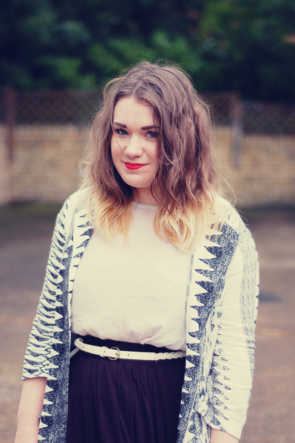 Wardrobeblock : Black and White monochrome Izabel aztec zebra blazer MAC ruby woo dip dyed blonde hair